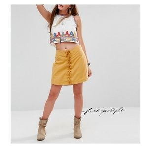 NEW Free People Honey Yellow Lace-Up Skirt